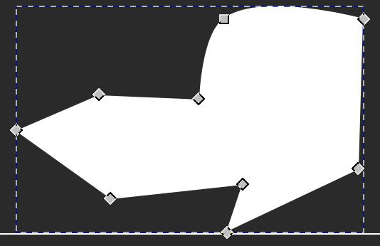 La figura presa come esempio dopo aver selezionato lo strumento Modifica Nodi