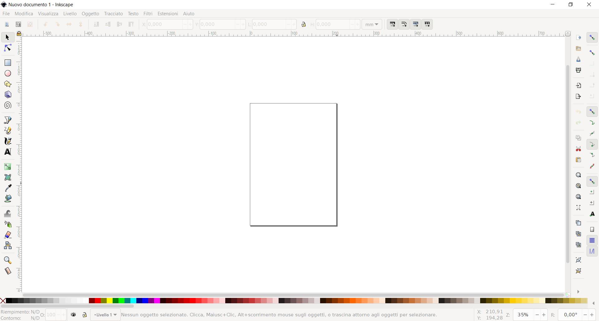 Schermata di avvio di Inkscape