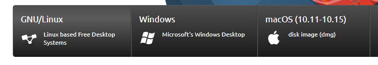 Le opzioni di download  di Inkscape